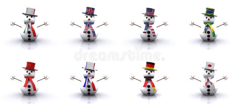 Χιονάνθρωποι των διαφορετικών χωρών τρισδιάστατων απεικόνιση αποθεμάτων