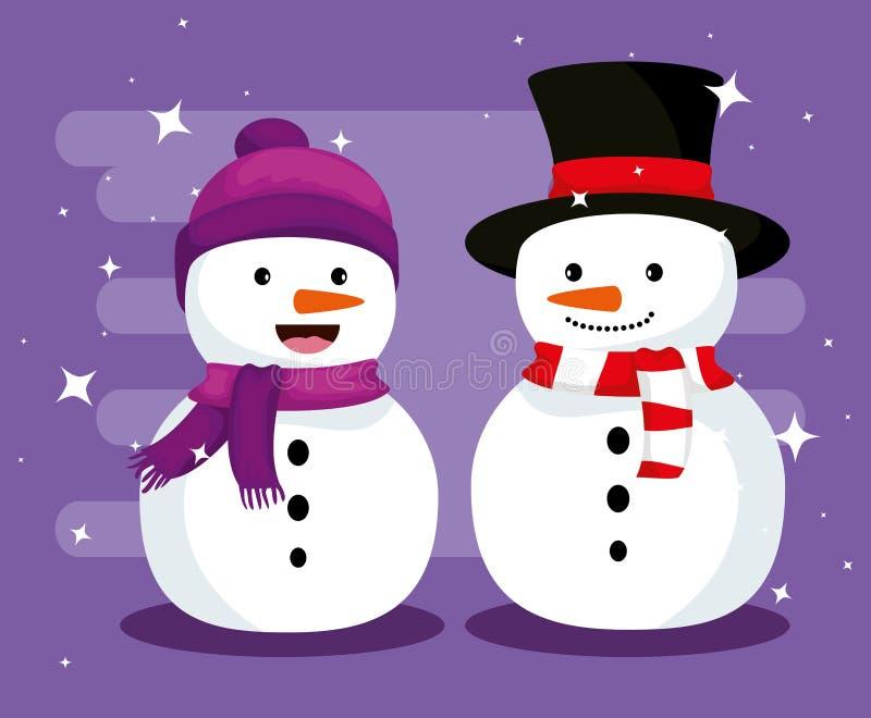Χιονάνθρωποι Χριστουγέννων με το καπέλο και το μαντίλι για να γιορτάσει απεικόνιση αποθεμάτων