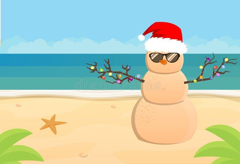 Χιονάνθρωπος Άγιος Βασίλης σε μια αμμώδη τροπική παραλία Διανυσματική απεικόνιση