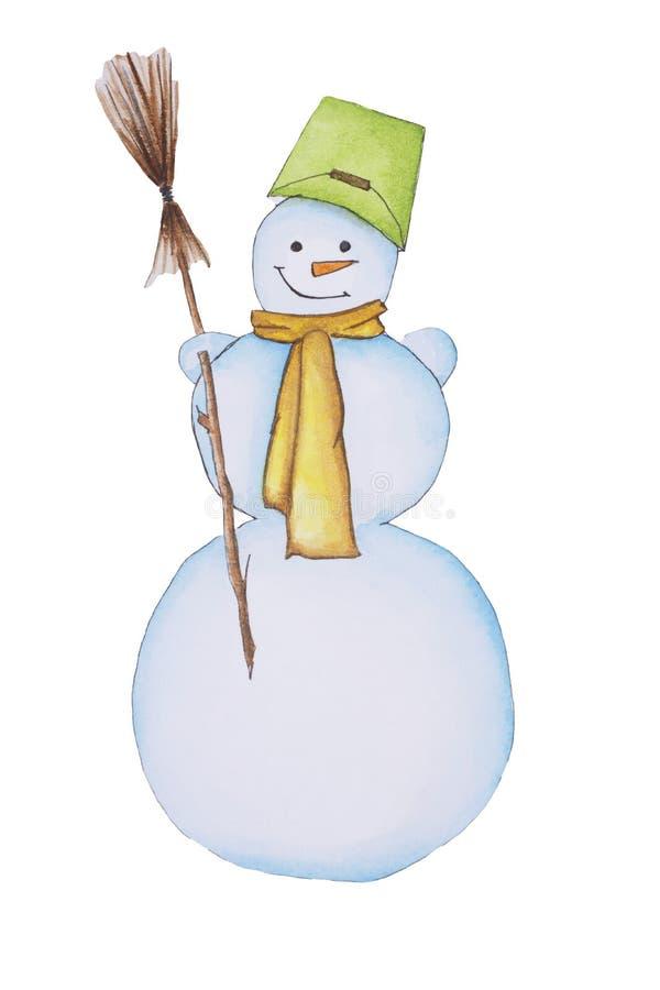 Χιονάνθρωπος απομονωμένος Νερομπογιές, χιονάνθρωπος ζωγραφισμένος με το χέρι Χειμώνας, χριστουγεννιάτικο στοιχείο για ευχετήριες  διανυσματική απεικόνιση