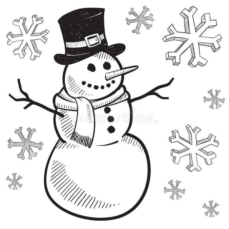 χιονάνθρωπος διακοπών σχ&e διανυσματική απεικόνιση