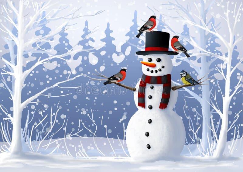 Χιονάνθρωπος και πουλιά στη χιονισμένη δασική απεικόνιση Bullfinch και tit χειμώνα Διακοπές Χριστουγέννων και χειμώνα απεικόνιση αποθεμάτων