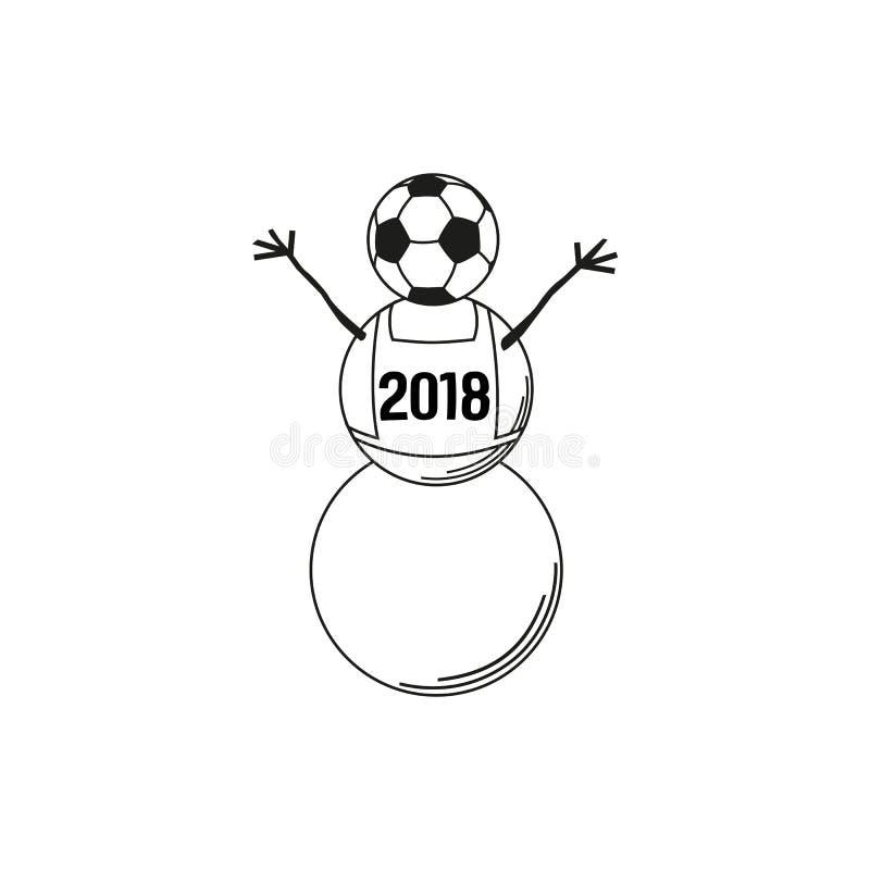 Χιονάνθρωπος και σφαίρα ποδοσφαίρου απεικόνιση αποθεμάτων
