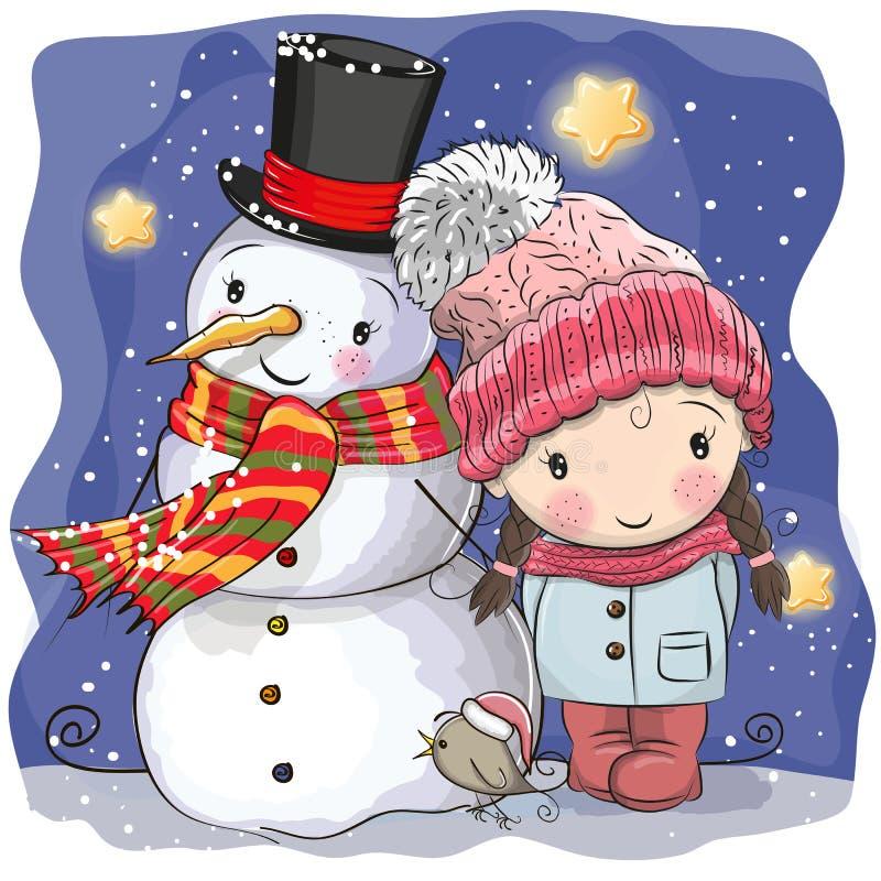 Χιονάνθρωπος και χαριτωμένο κορίτσι κινούμενων σχεδίων ελεύθερη απεικόνιση δικαιώματος