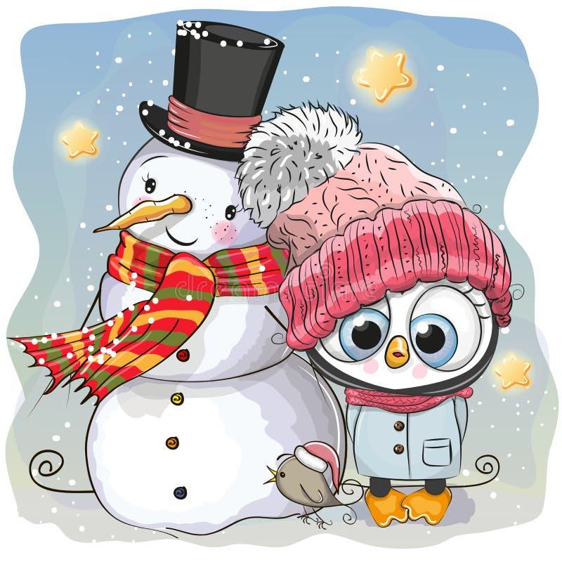 Χιονάνθρωπος και χαριτωμένο κορίτσι Penguin σε ένα καπέλο απεικόνιση αποθεμάτων