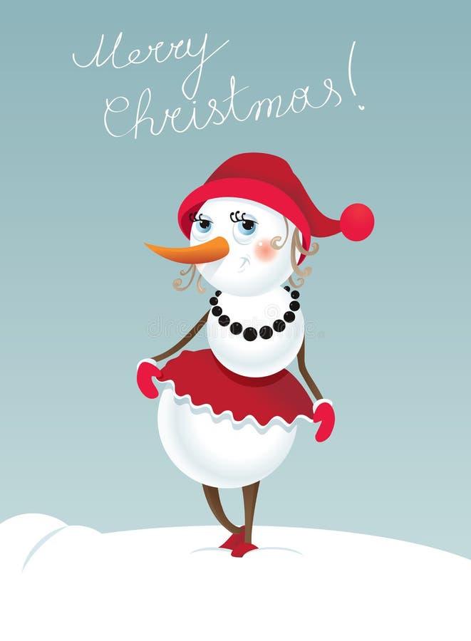 Χιονάνθρωπος-κορίτσι Χριστουγέννων ελεύθερη απεικόνιση δικαιώματος