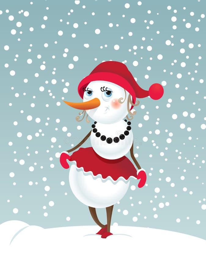 Χιονάνθρωπος-κορίτσι Χριστουγέννων διανυσματική απεικόνιση