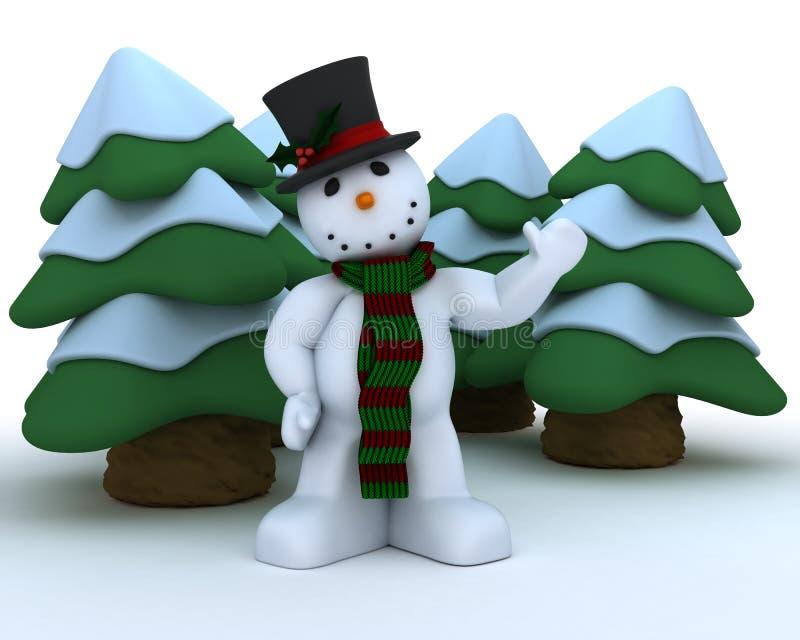 χιονάνθρωπος μαντίλι καπέ&lamb απεικόνιση αποθεμάτων