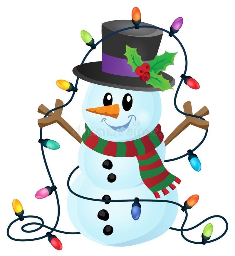 Χιονάνθρωπος με την εικόνα 1 φω'των Χριστουγέννων ελεύθερη απεικόνιση δικαιώματος