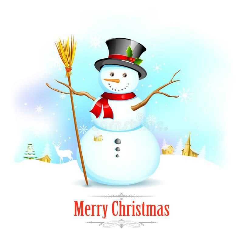 Χιονάνθρωπος με τη σκούπα στο υπόβαθρο Χριστουγέννων ελεύθερη απεικόνιση δικαιώματος