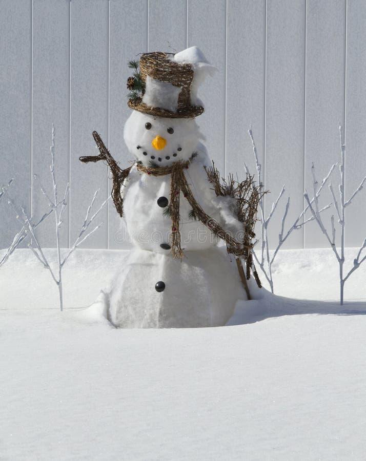 Χιονάνθρωπος με το καπέλο στοκ φωτογραφία
