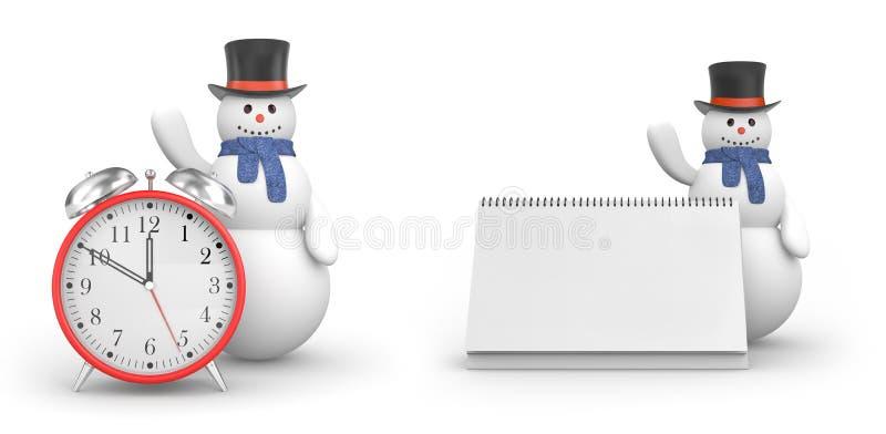 Χιονάνθρωπος με το ξυπνητήρι και χιονάνθρωπος με το ημερολόγιο τα Χριστούγεννα έρχονται ν απεικόνιση αποθεμάτων