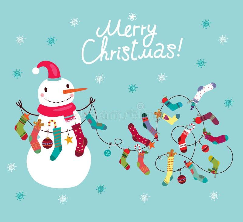 Χιονάνθρωπος με το χαριτωμένο χιονάνθρωπο καλτσών και δώρων, κάρτα Χριστουγέννων απεικόνιση αποθεμάτων