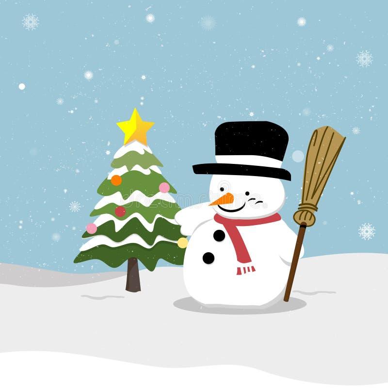 Χιονάνθρωπος με το χριστουγεννιάτικο δέντρο απεικόνιση αποθεμάτων