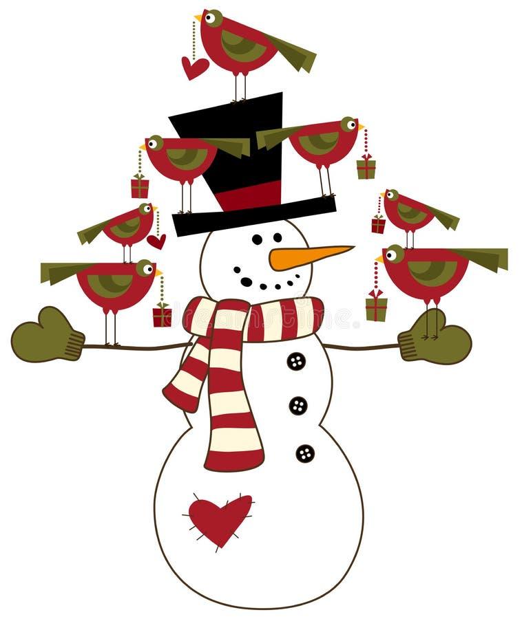 χιονάνθρωπος πουλιών απεικόνιση αποθεμάτων