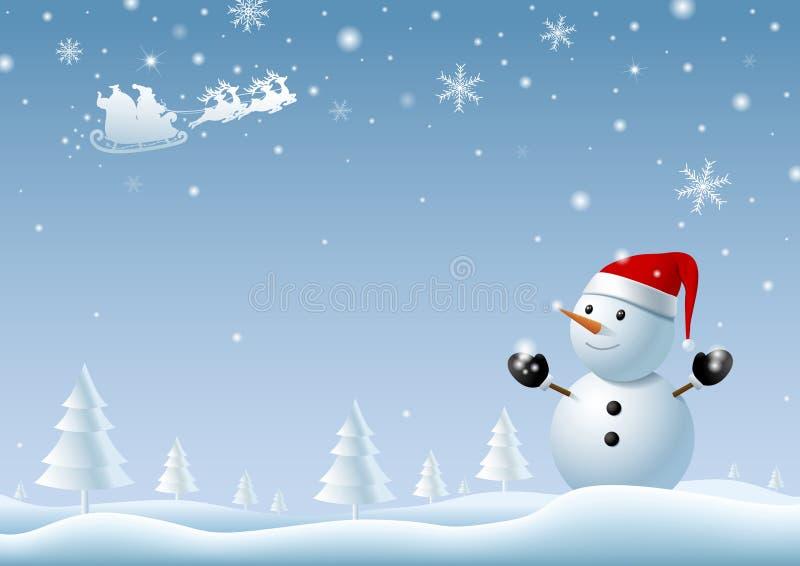 Χιονάνθρωπος που εξετάζει Άγιο Βασίλη στο υπόβαθρο χειμερινών Χριστουγέννων ελεύθερη απεικόνιση δικαιώματος