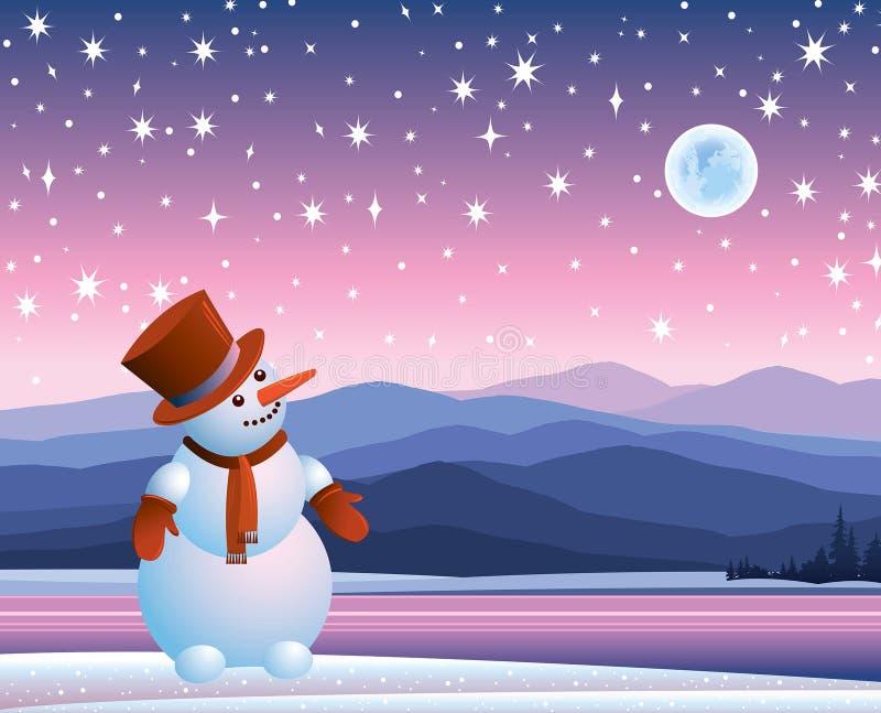 Χιονάνθρωπος που εξετάζει το φεγγάρι διανυσματική απεικόνιση