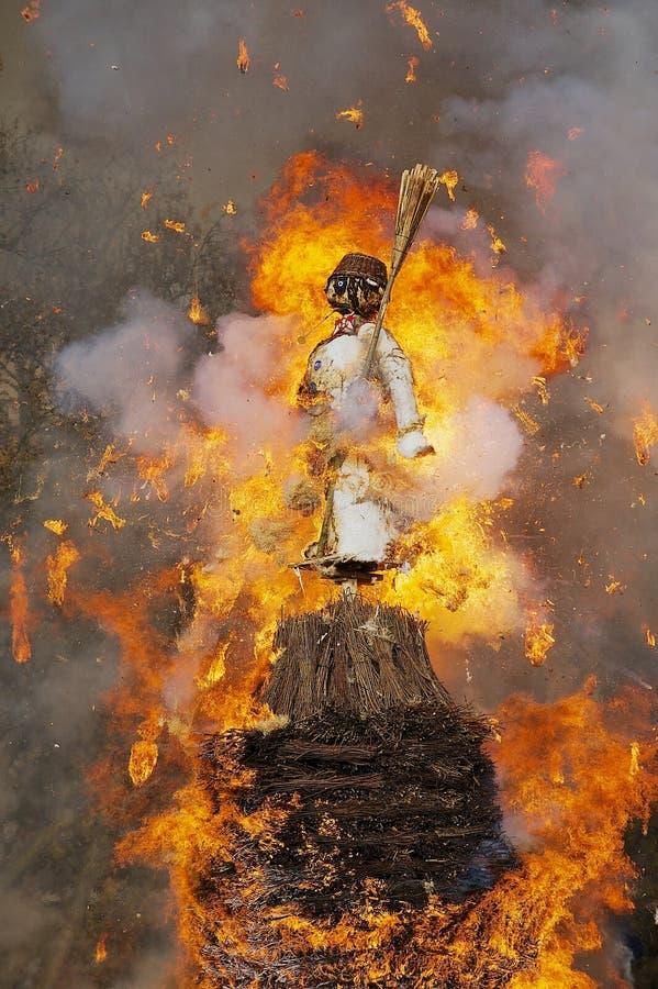 Χιονάνθρωπος που καίγεται κατά τη διάρκεια του παραδοσιακού φεστιβάλ Sechselauten στη Ζυρίχη, Ελβετία στοκ φωτογραφίες