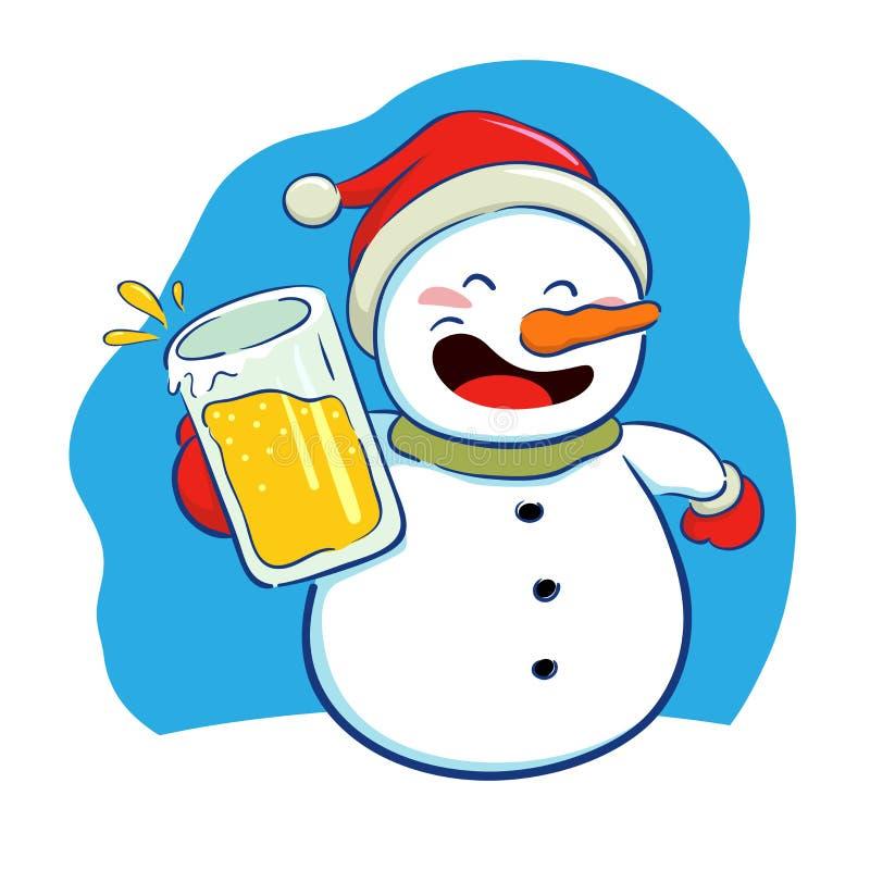 Χιονάνθρωπος που κρατά ένα ποτήρι της μπύρας ελεύθερη απεικόνιση δικαιώματος