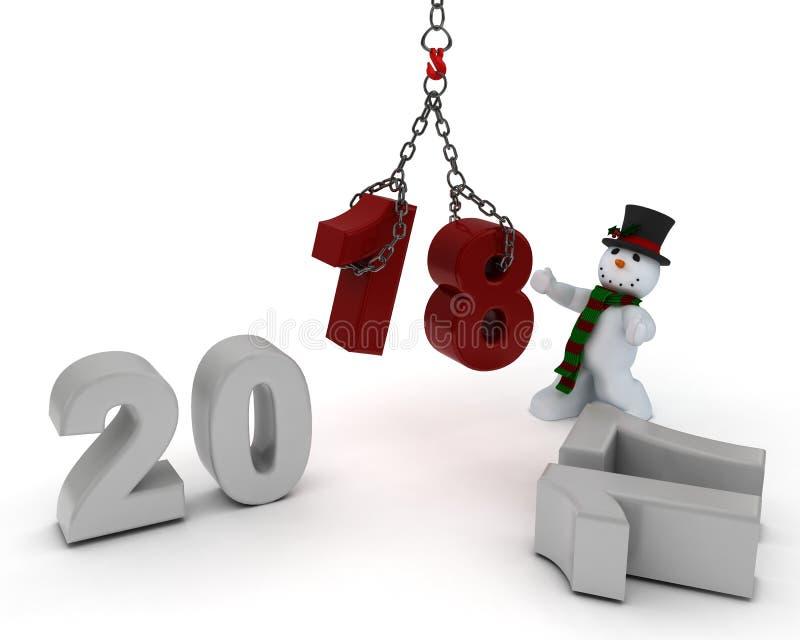 Χιονάνθρωπος που φέρνει στο νέο έτος ελεύθερη απεικόνιση δικαιώματος