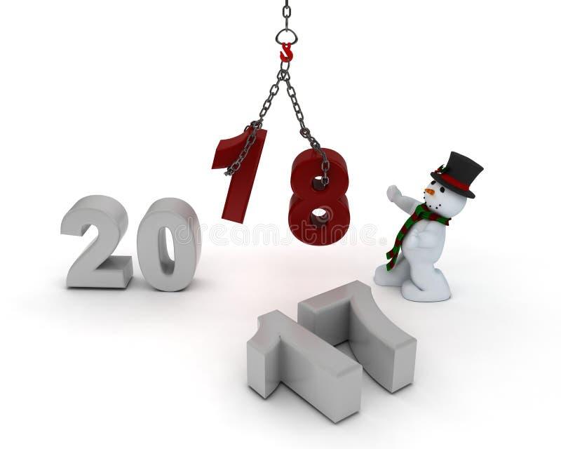 Χιονάνθρωπος που φέρνει στο νέο έτος διανυσματική απεικόνιση