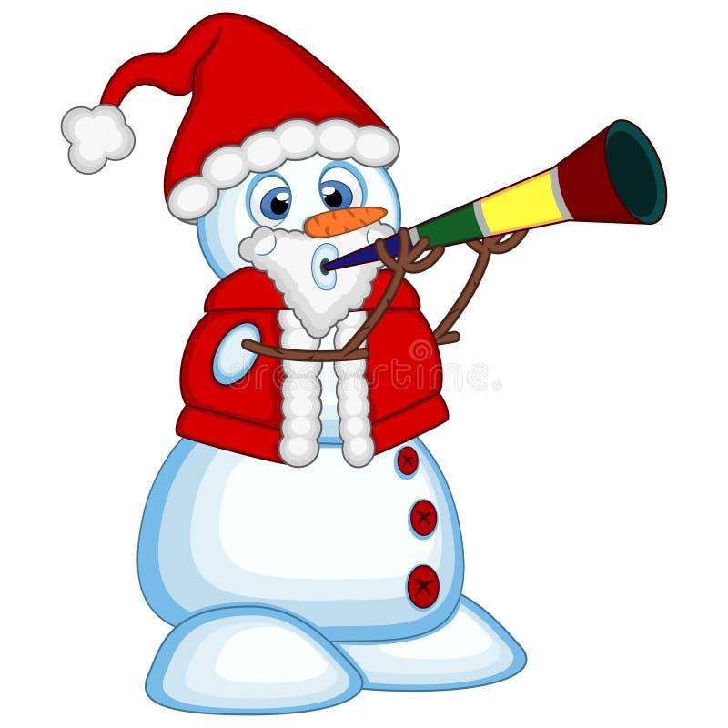 Χιονάνθρωπος που φορά τα φυσώντας κέρατα Άγιου Βασίλη κοστουμιών για τη διανυσματική απεικόνιση σχεδίου σας ελεύθερη απεικόνιση δικαιώματος