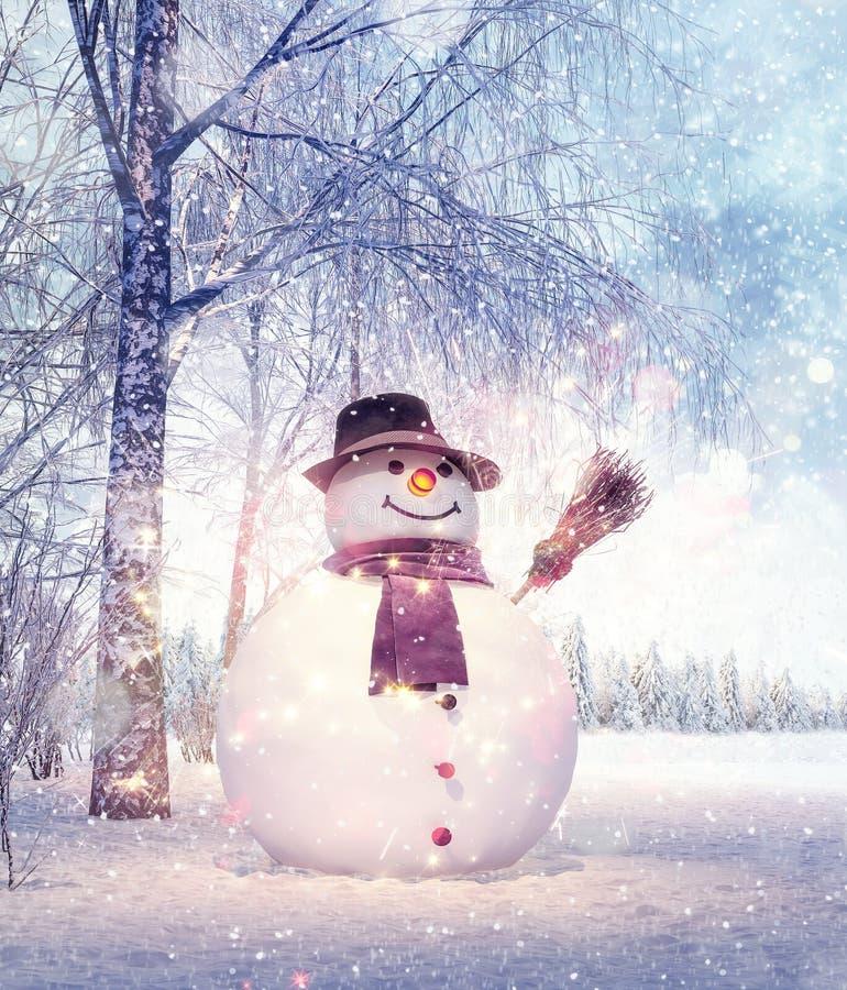 Χιονάνθρωπος στην ειδυλλιακή χειμερινή ημέρα, υπόβαθρο Χριστουγέννων απεικόνιση αποθεμάτων