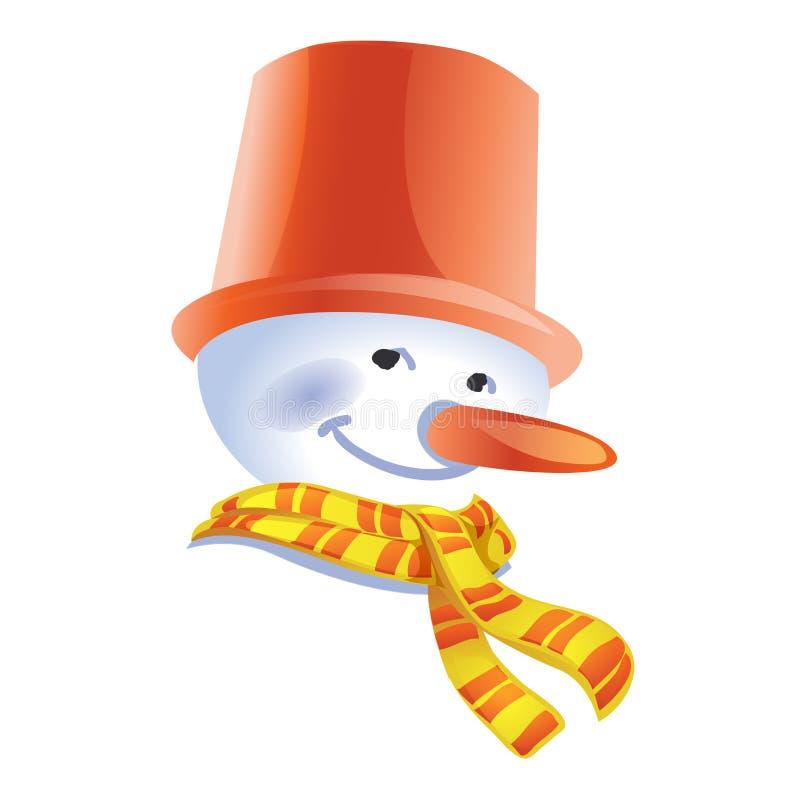 Χιονάνθρωπος στο καπέλο ο κάδος με ένα ριγωτό μαντίλι Ύφος κινούμενων σχεδίων Απομονωμένος χειμερινός χαρακτήρας στο άσπρο υπόβαθ ελεύθερη απεικόνιση δικαιώματος