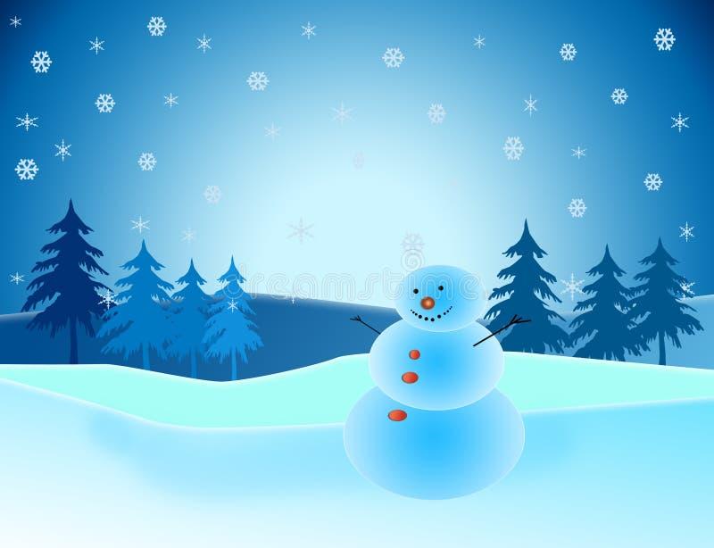 Χιονάνθρωπος στο χειμερινό τοπίο ελεύθερη απεικόνιση δικαιώματος