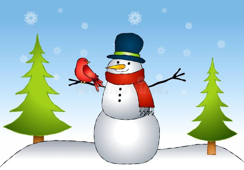 χιονάνθρωπος φίλων πουλ&iot απεικόνιση αποθεμάτων