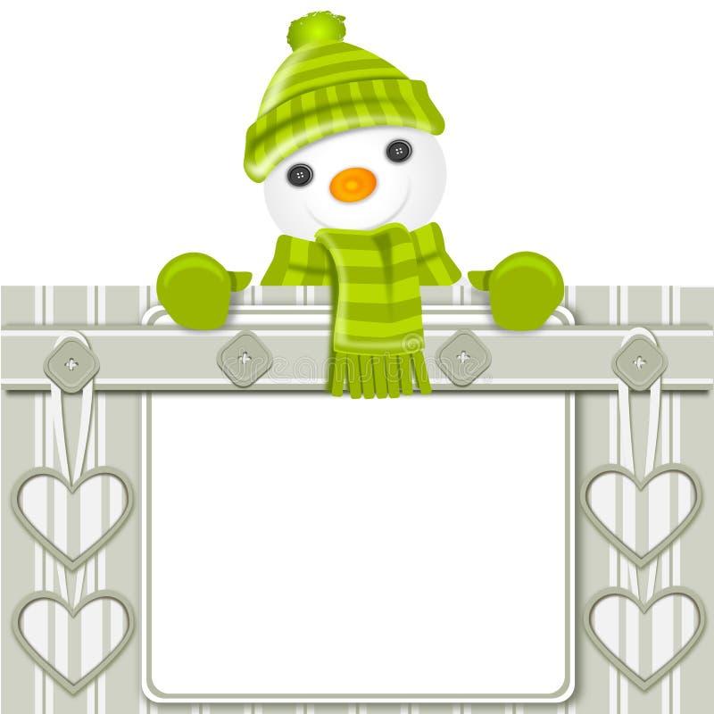 χιονάνθρωπος Χριστουγέννων καρτών απεικόνιση αποθεμάτων