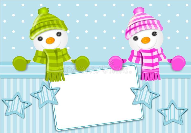 χιονάνθρωπος Χριστουγέννων καρτών διανυσματική απεικόνιση