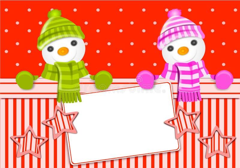 χιονάνθρωπος Χριστουγέννων καρτών ελεύθερη απεικόνιση δικαιώματος