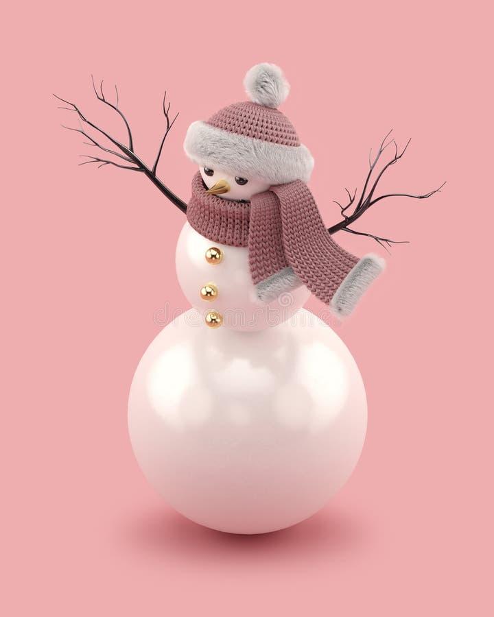 Χιονάνθρωπος Χριστουγέννων σε ένα πλεκτά καπέλο και ένα μαντίλι απεικόνιση αποθεμάτων