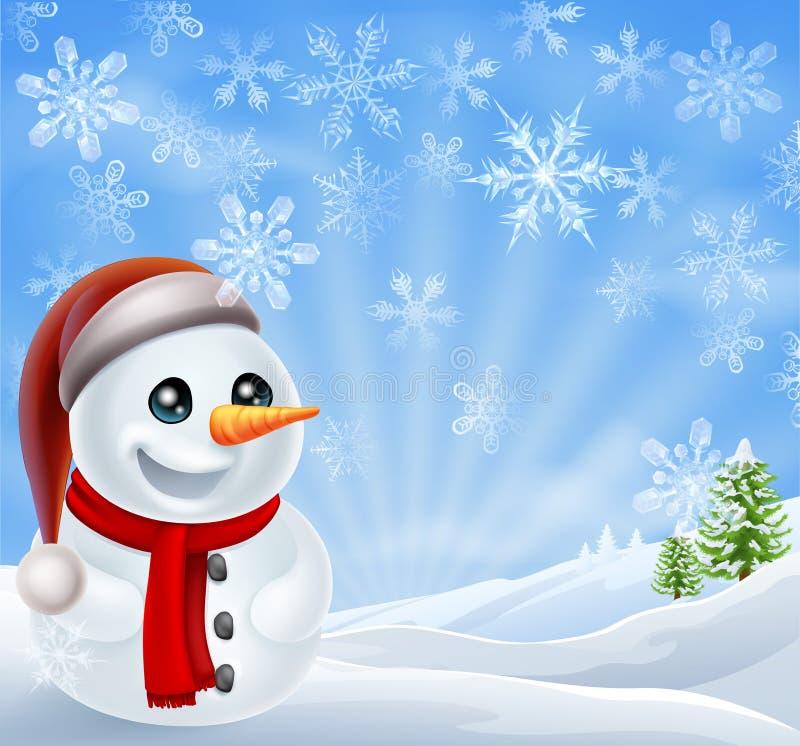 Χιονάνθρωπος Χριστουγέννων στη χειμερινή σκηνή ελεύθερη απεικόνιση δικαιώματος