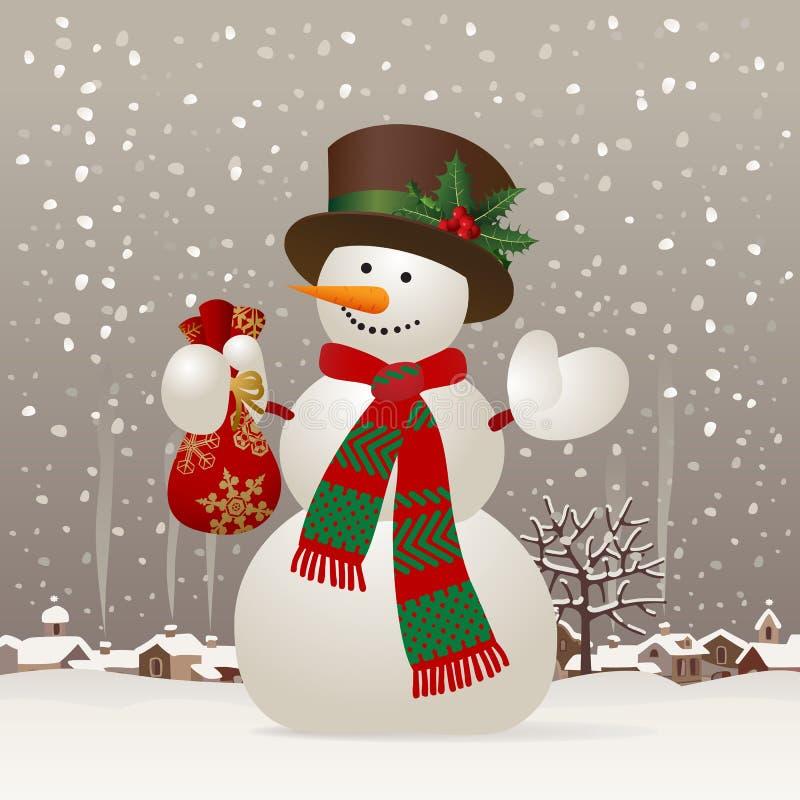 Χιονάνθρωπος Χριστουγέννων & του νέος-έτους απεικόνιση αποθεμάτων