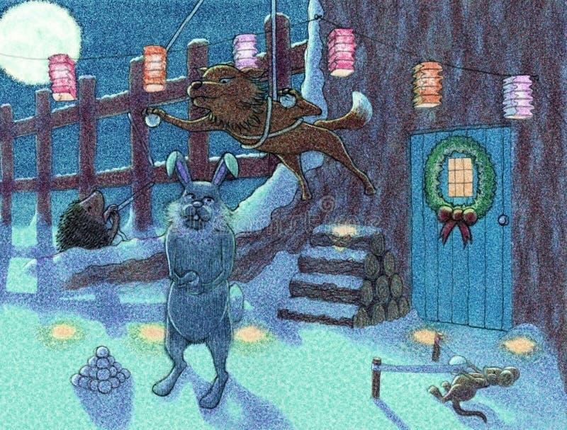 χιονιά μεσάνυχτων πάλης στοκ εικόνες