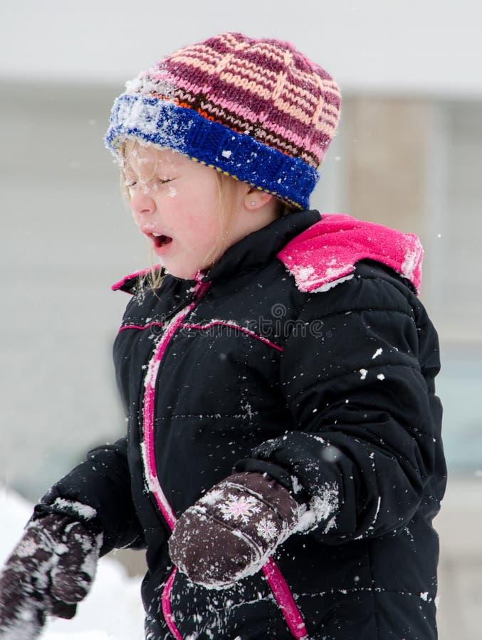 Χιονιά στο πρόσωπο στοκ εικόνες