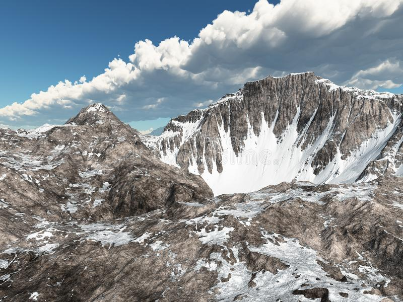 Χιονισμένα βουνά και νεφελώδης ουρανός διανυσματική απεικόνιση
