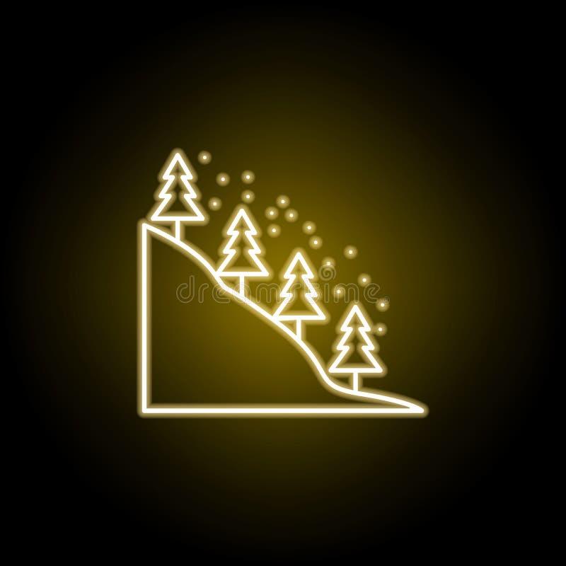 χιονισμένα δέντρα στο εικονίδιο βουνών στο ύφος νέου Στοιχείο της απεικόνισης ταξιδιού Τα σημάδια και τα σύμβολα μπορούν να χρησι ελεύθερη απεικόνιση δικαιώματος
