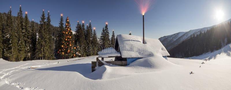Χιονισμένα σπίτια Carpathians στοκ φωτογραφία με δικαίωμα ελεύθερης χρήσης