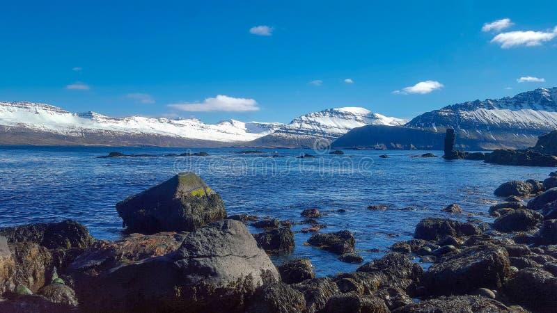 Χιονισμένα φιορδ από τον ωκεανό στην Ισλανδία στοκ φωτογραφία με δικαίωμα ελεύθερης χρήσης