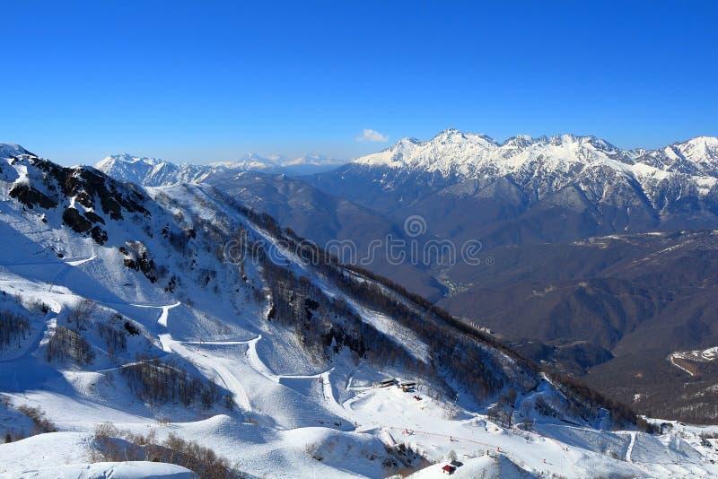 Χιονισμένες κλίσεις σκι στη Rosa Khutor 2014 χειμερινός κόσμος της Ρωσίας Sochi 2018 παιχνιδιών φλυτζανιών ολυμπιακός στοκ εικόνα με δικαίωμα ελεύθερης χρήσης