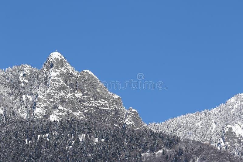 Χιονισμένη αιχμή βουνών ενάντια στους μπλε ουρανούς στοκ εικόνες