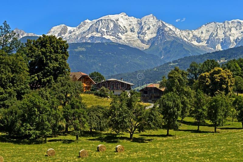 Χιονισμένος ορεινός όγκος της Mont Blanc στοκ εικόνα