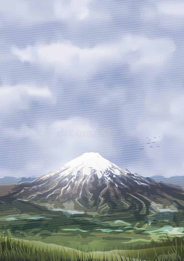 Χιονισμένο νεφελώδες μέγιστο τοπίο βουνών διανυσματική απεικόνιση