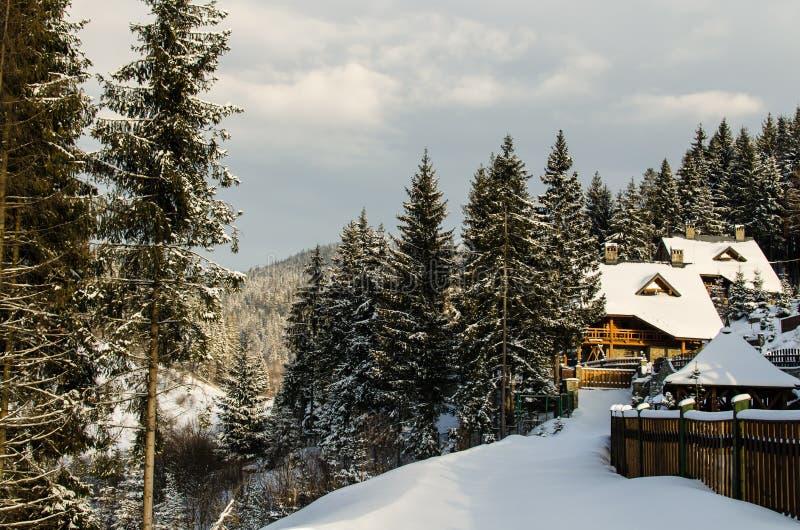 Χιονισμένο ξενοδοχείο στα όμορφα χειμερινά Καρπάθια βουνά στοκ εικόνα