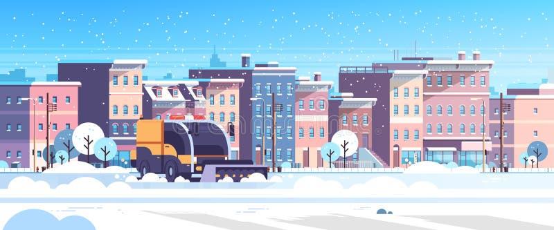 Χιονισμένο φορτηγό καθαρίζει κατοικημένες αστικές περιοχές στους δρόΠδιανυσματική απεικόνιση