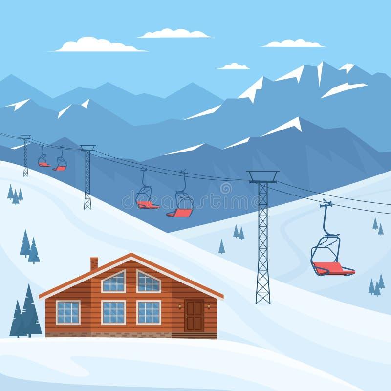 Χιονοδρομικό κέντρο με τον ανελκυστήρα καρεκλών, σπίτι, σαλέ, τοπίο χειμερινών βουνών, χιόνι ελεύθερη απεικόνιση δικαιώματος