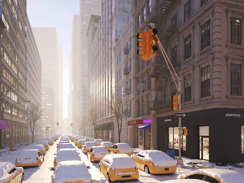 Χιονοθύελλα στην πόλη της Νέας Υόρκης τρισδιάστατη απόδοση απεικόνιση αποθεμάτων